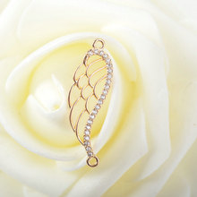 4 Pcs 28x10 mm 24 K Champagne Gold Color Coated Brass Angel Wings Charms High Quality Diy Jewelry Accessories