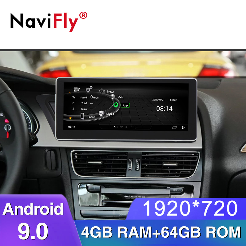 NaviFly Car multimedia player 4GB+64GB 4G LTE <font><b>Android</b></font> 9 Auto gps navigation for <font><b>Audi</b></font> <font><b>A4</b></font> A5 2009 2010 2011 2012 2013 2014 - 2016 image