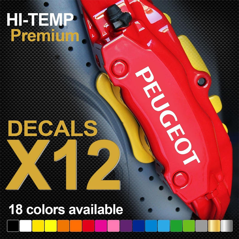 12pcs PEUGEOT 206 207 307 GTI HI-TEMP PREMIUM BRAKE CALIPER DECALS STICKERS CAST VINYL 5pcs 9.3x1.3cm 7pcs 7.5x1cm