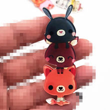 1pcs Kawaii bear fox Stacked Animal Japan Anime Cosplay Icons cartoon Pins brooches on the backpack acrylic badges party gift(China)