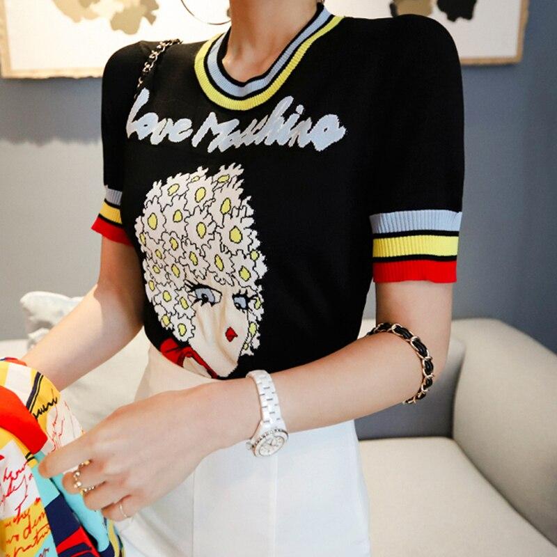 Fanco Women Tops Jacquard Lovely Girl Letters Short Sleeve Pullover Summer Female Knitted Striped O neck Sweater Jumper Hot