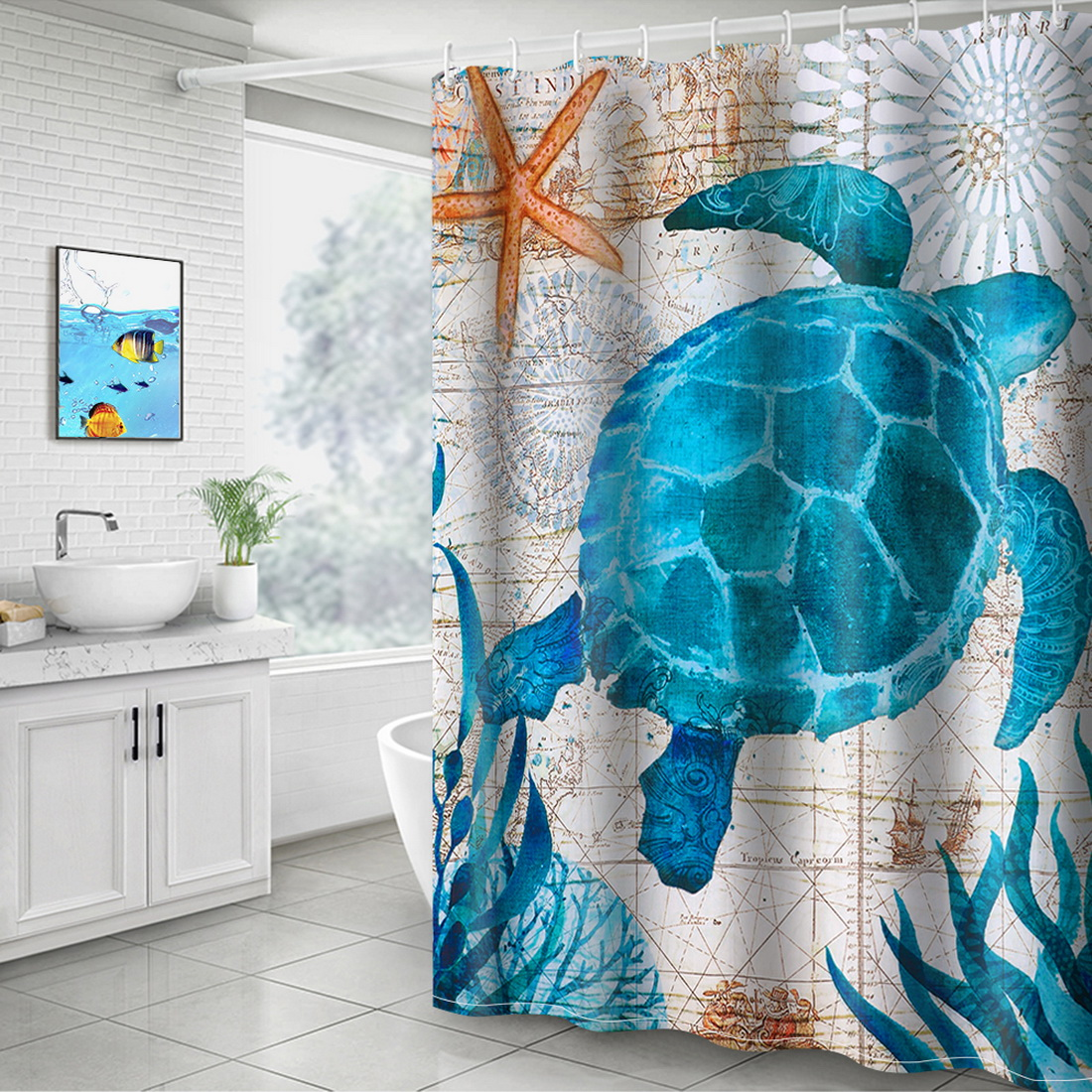 Us 4 55 45 Off Sea Turtle Print Waterproof Shower Curtain Polyester Fabric Bath Curtain Octopus Washable Home Bath Decor Curtains With 12 Hooks In