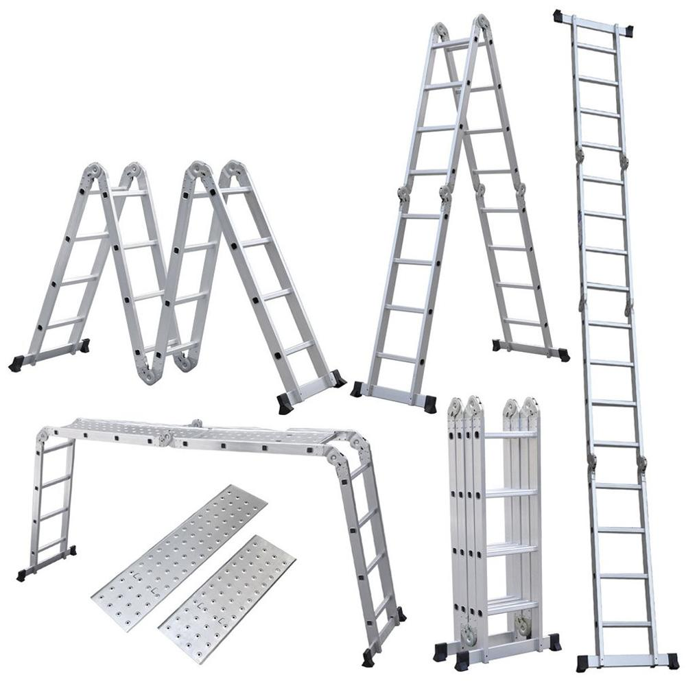 FR 4x4 15.5FT Step Platform Multi Purpose All-Rustproof Aluminum Alloy Folding Scaffold Step Ladder For Commercial Use And DIY