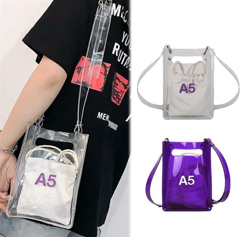 Креативные прозрачные сумки, женская сумка мессенджер, модная сумка через плечо с внутренним шнурком, кошелек Сумки с ручками      АлиЭкспресс