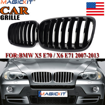 MagicKit US STOCK 2PCS Front Glossy Shiny Black Dual Slat Bumper Kidney Grille Grill For BMW E70 X5 E71 X6 2003-2009 image