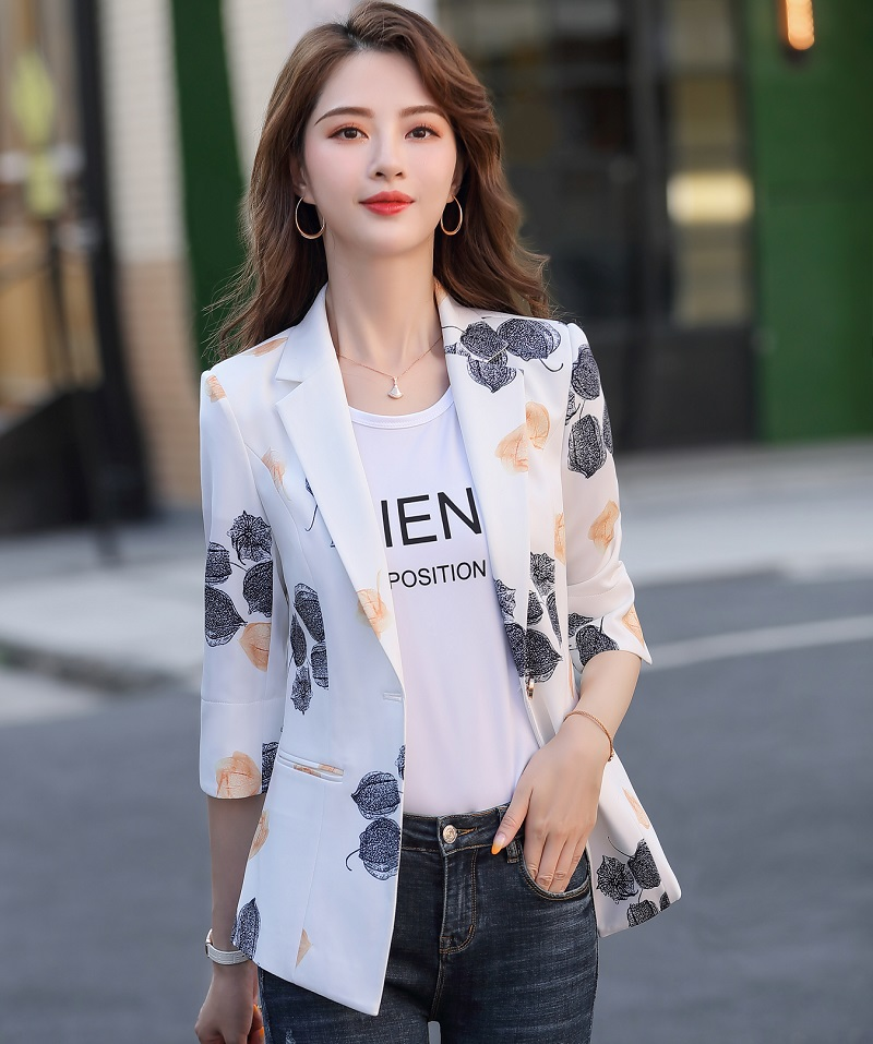 Women Blazers Slim Spring Autumn Printing Jacket Half Sleeve Blazer & Suits Women 985