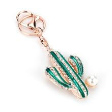 Car Keyrings Handbag Charm-Accessories Crystal Keychain Cactus Jewelry Rhinestone Fashion