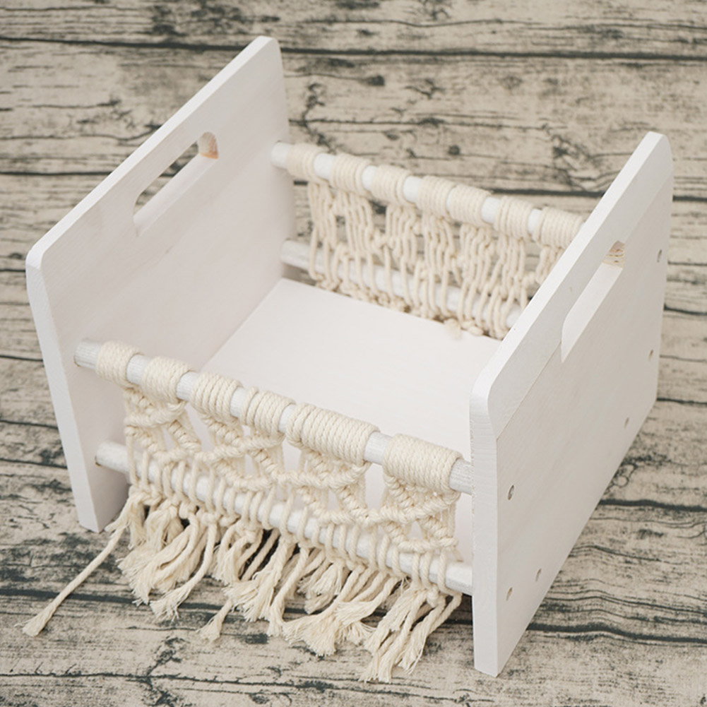 Wooden Decoration Sofa Newborn Bed Woven Rope Home Background Retro Studio Cot Photography Prop Baby Posing Small