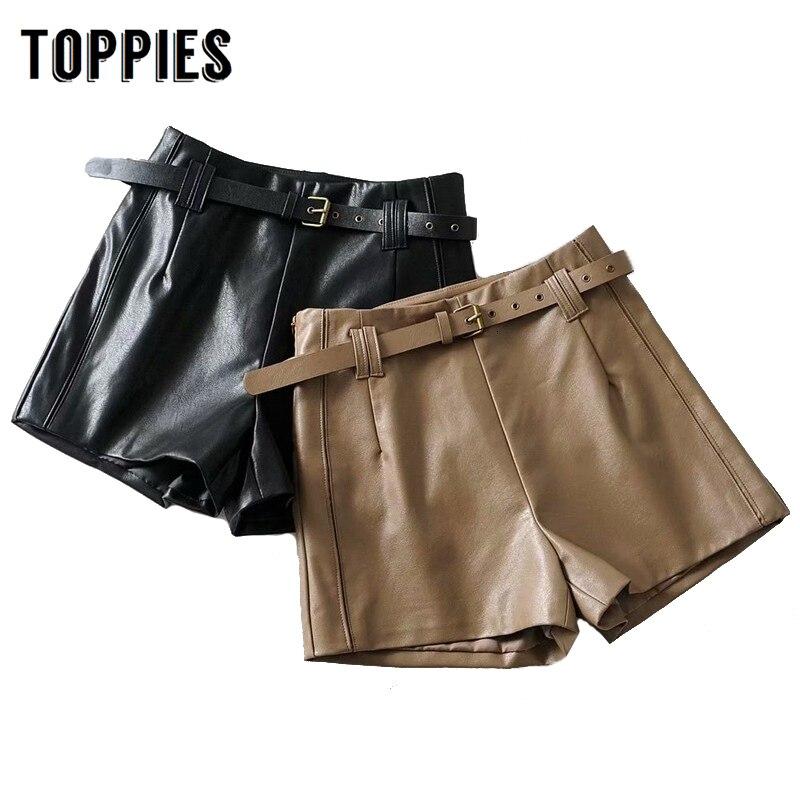 Black Pu Leather Shorts Women 2019 Autumn High Waist Shorts Belt Waist Streetwear High Quality