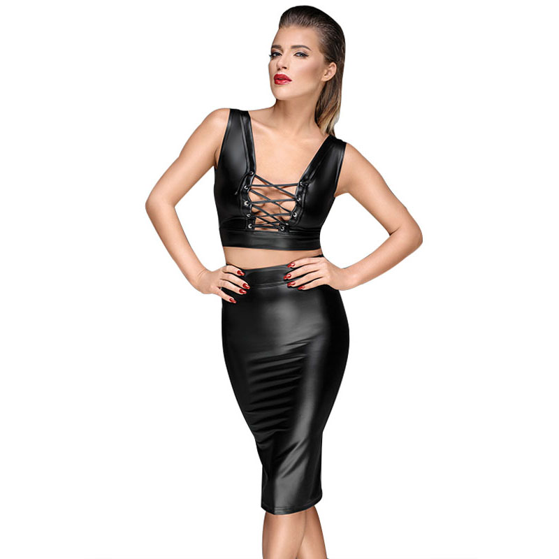 High waist pu leather skirts women back lace up zipper pencil mini skirt gothic punk streetwear office lady black skirts short (5)