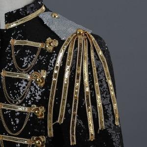 Image 5 - Shiny Sequin Blazer Men Cool Glitter Military Dress Tuxedo Men Blazer Suit Jacket Nightclub Stage Show Cosplay Blazer Masculino