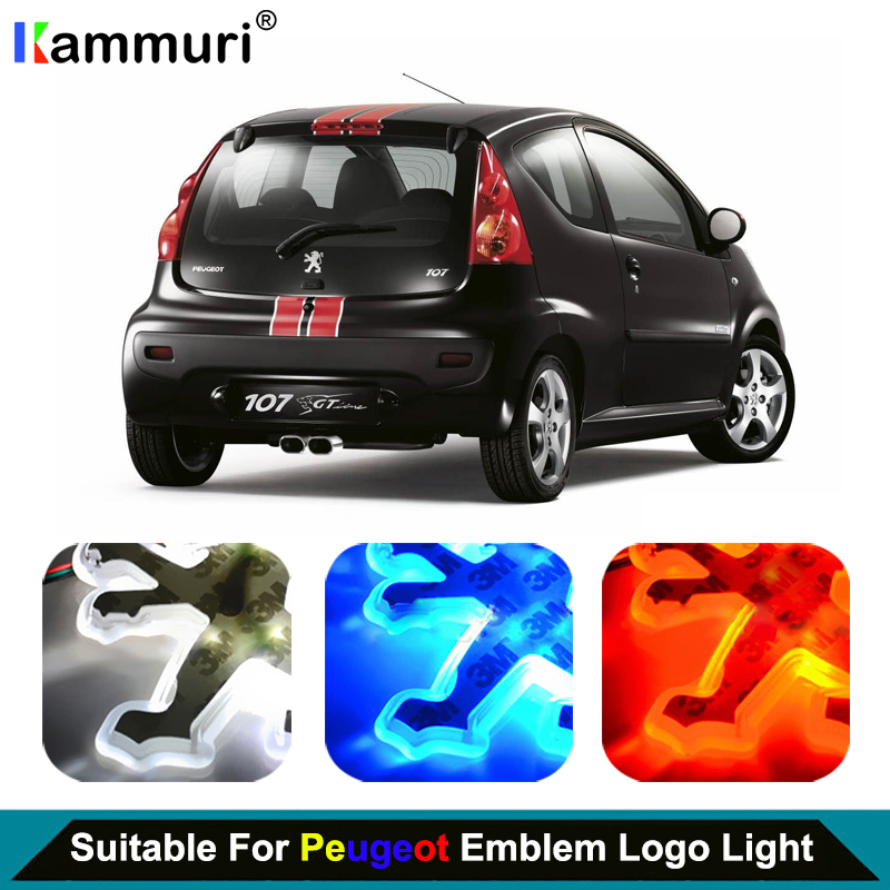 9.8cmX9.5cmCar Styling led emblem Badge Logo Light for <font><b>Peugeot</b></font> 206 2008 3008 207 <font><b>301</b></font> 307 308 407 508 LED Emblem Badge Logo Light image