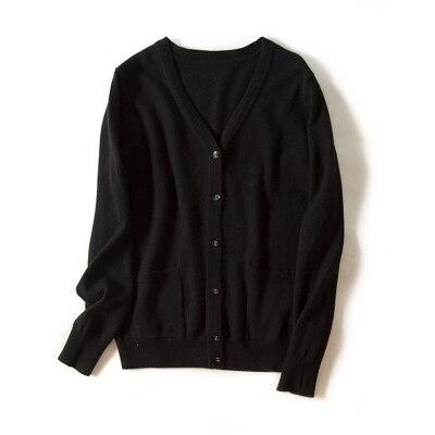Шерсть вязаный Топ Зимний мягкий женский шерстяной свободный свитер s m l xl - Цвет: BLACK MY1821
