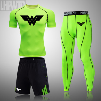 Wonder Woman Men's full Suit Compression Sport Suit Gym joggers Running Short sleeve Shirts leggings Basketball sportwear 8