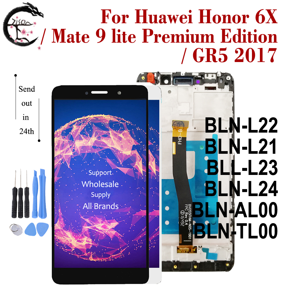 <font><b>LCD</b></font> + Rahmen Für <font><b>Huawei</b></font> <font><b>Honor</b></font> 6X GR5 2017 BLN-L22 L21 <font><b>Display</b></font> Screen Touch Digitizer Montage Mate <font><b>9</b></font> lite Premium edition BLL-L23 image