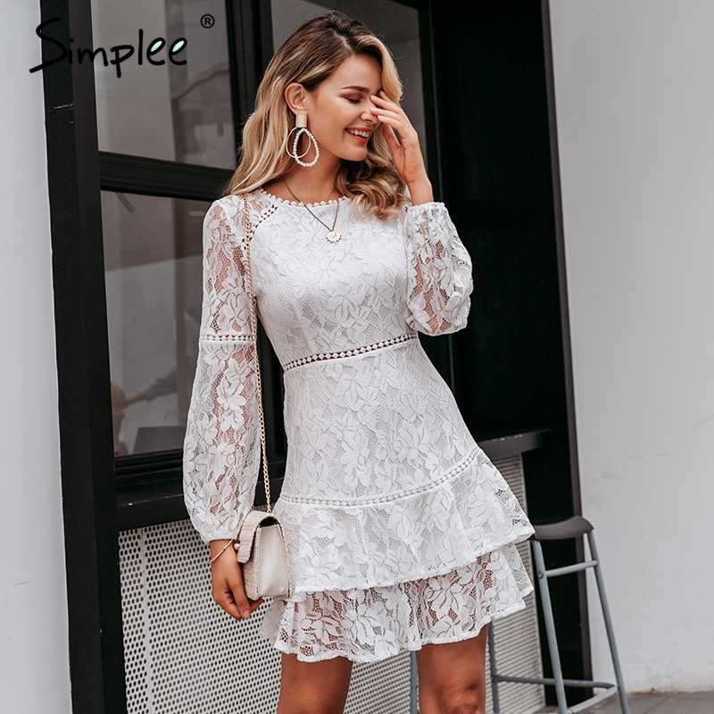 Simplee Elegant lace transparent dress Puff sleeve floral long sleeve white dress High waist ruffle office lady autumn vestidos