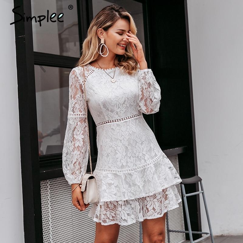 Simplee Elegant Lace Transparent Dress Puff Sleeve Floral Long Sleeve White Dress High Waist Ruffle Office Lady Autumn Vestidos