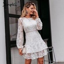 Simplee Elegante spitze transparent kleid Puff sleeve floral langarm weiß kleid Hohe taille rüschen büro dame herbst vestidos