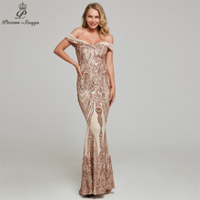 Evening-Dress Prom-Dresses Gold Sequin Party Soiree Women New De Boat for Vestidos-De-Gala-Robe