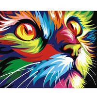 Colorido gato animales DIY pintura al óleo por números para adultos pinturas por números arte de la pared imágenes para colorear por número hogar decoración