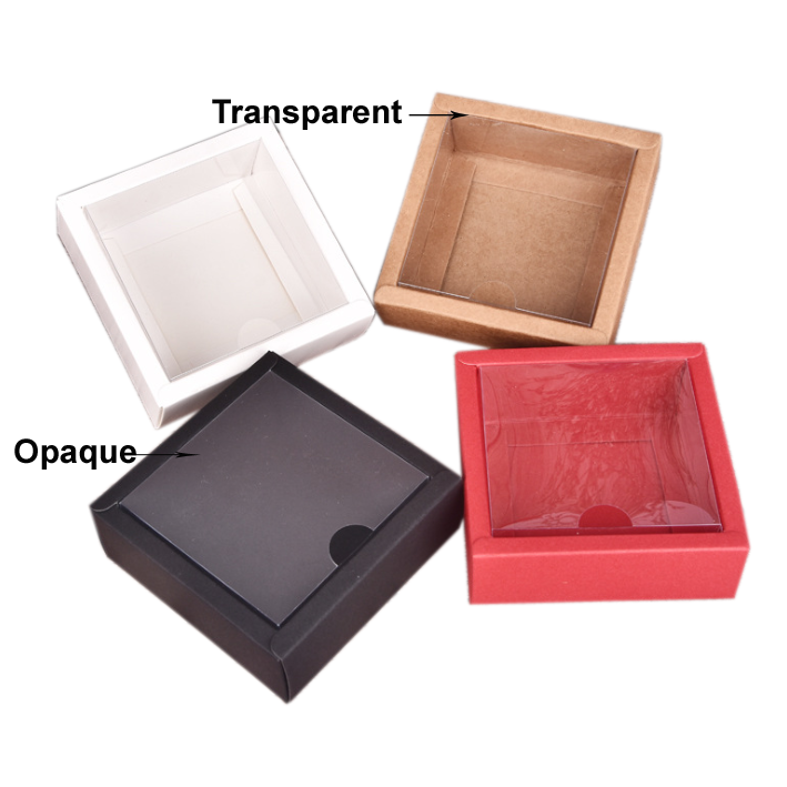 15x15x5cm 1pc White/black/red Kraft Window Box Packing Gift Boxes With Pvc Window For Candy/Cake/Soap/Cookie/Cupcake Display Box