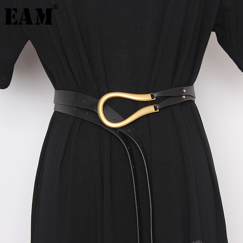 [EAM]  Pu Leather Multicolor Buckle Big Size Long Wide Belt Personality Women New Fashion Tide All-match Spring 2020 1N952