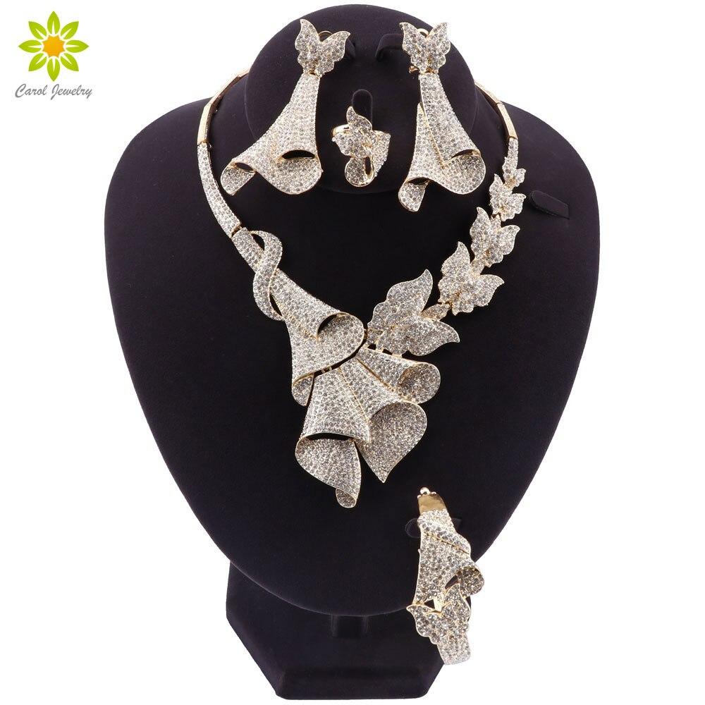 Fashion African Jewelry Sets Women Costume Nigerian Wedding Jewelry Set Dubai Gold color Crystal Jewelry Set Design