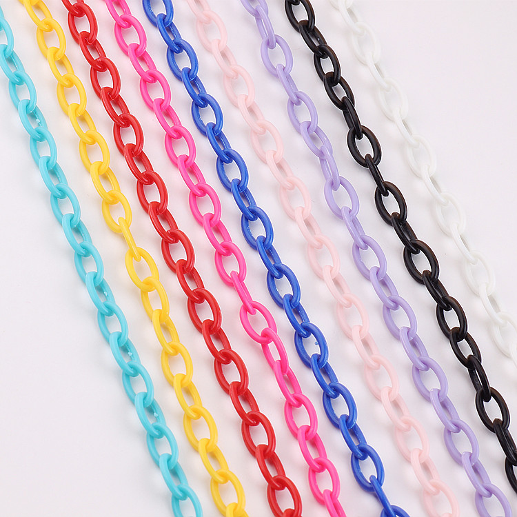 DIY chain for jewelry making accessories hand made necklace bracelet plastic chain isolated colors jewelry findings