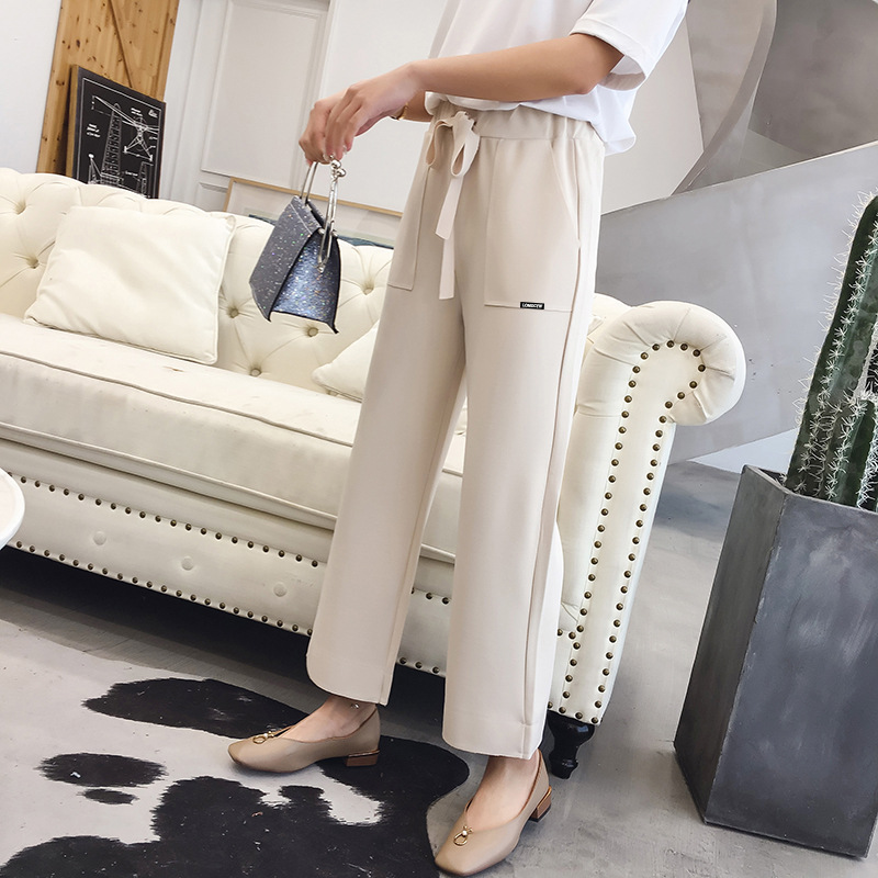 Loose   Pants   Women's 2018 Spring New Style Korean-style Loose And Plus-sized Solid Color Casual   Pants   Elastic   Capri     Pants   Student