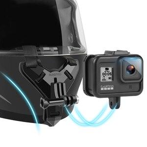 Image 1 - Mũ Bảo Hiểm Xe Máy Cằm Giá Đứng Giá Đỡ Cho GoPro Hero 8 7 6 5 4 3 Xiaomi Yi Máy Camera Thể Thao full Mặt Đựng Phụ Kiện