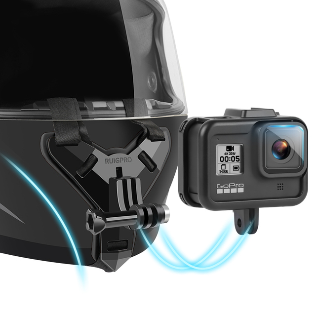 Mũ Bảo Hiểm Xe Máy Cằm Giá Đứng Giá Đỡ Cho GoPro Hero 8 7 6 5 4 3 Xiaomi Yi Máy Camera Thể Thao full Mặt Đựng Phụ Kiện