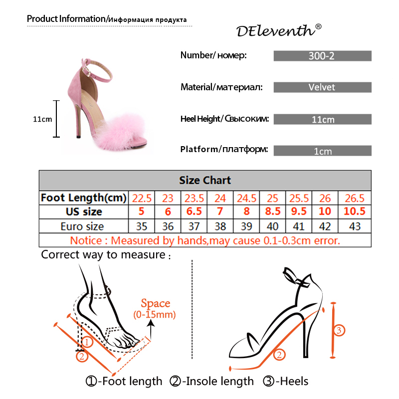 Fashion 11cm Heels Designers Summer Shoes Women Stiletto Sandalen Open Toe Fluff Strappy Thin High Heels Lace Up Fur Sandals