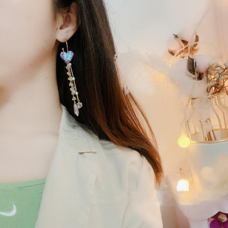 Mengjiqiao корейский Асимметричный Кристалл сердца длинные висячие