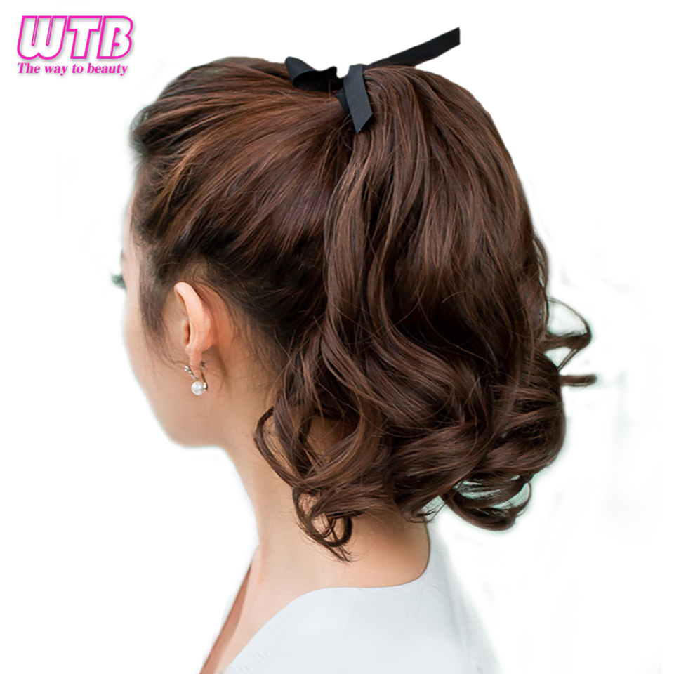WTB Short Heat Resistant Drawstring Hairpieces Wavy Ponytail Synthetic Hair Tails Women Short Wavy Ponytail Hair