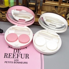 Portable Contact Lens Case With Mirror Simple Contact Lenses Box Eyes Contact Lens Container Lovely Travel Kit Box luxury roundness contact lens case color water eye lens box popular travel lens case contact with mirror