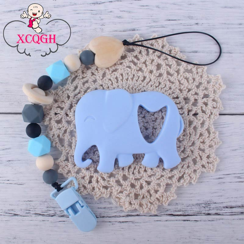 XCQGH 2Pcs/set Cute Elephant Baby Teethers For Newborn Boy Girl And Silicone Pacifier Clip Chain