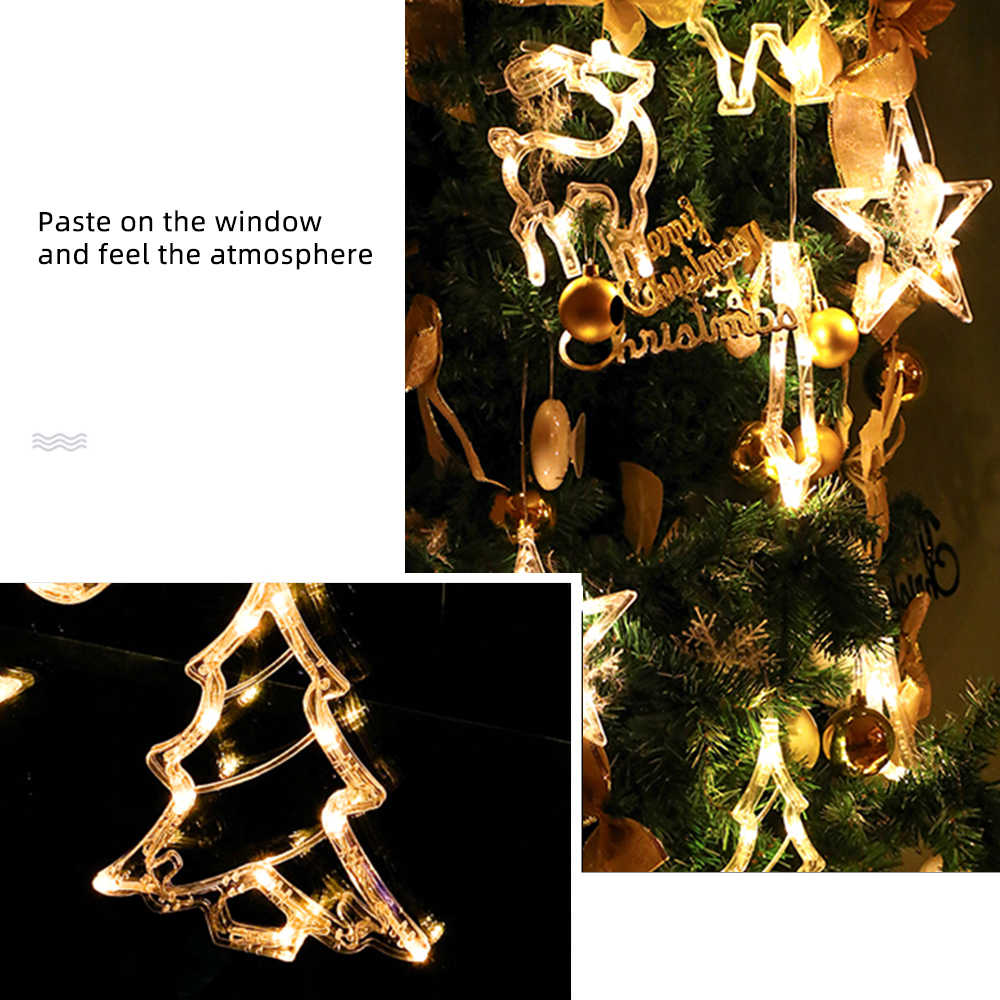 Christmas Suction Cup LED Hanging Lights Windows Shop Wall Xmas Home Decoration