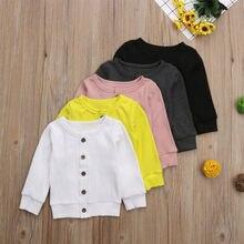Новая детская одежда для малышей осенне-зимний однотонный вязаный свитер с длинными рукавами для новорожденных девочек кардиган, пальто, топы