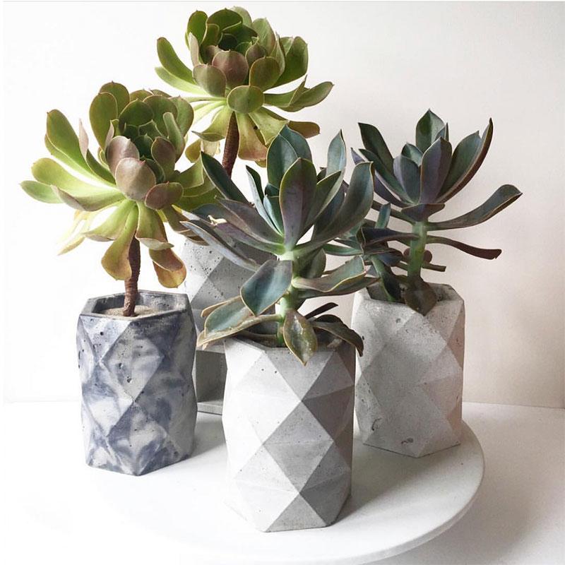 Moldes de Concreto para vaso de Flores diamante designer de argila do polímero caneta rack de armazenamento de suporte da planta de cimento gesso vaso forma molde de silicone