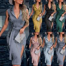 Womens Lady Sleeveless Bodycon Dress V-Neck Party Evening Club Sundress