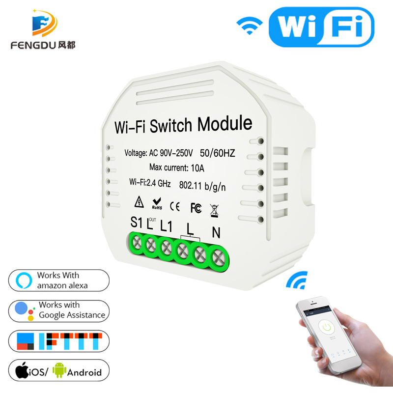 DiY WiFi Smart Light Switch Relay Module Smart Home Smart Life/Tuya APP Remote Control Work With Alexa Echo Google Home