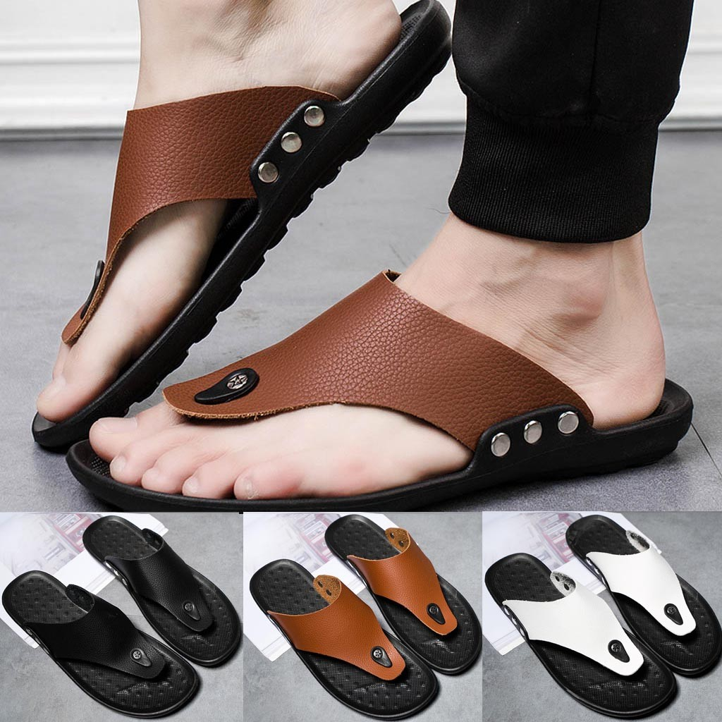 Flip Flop Slipper Summer Comfortable T-Strap Meskie Open-Toe Buty Men -Ew title=