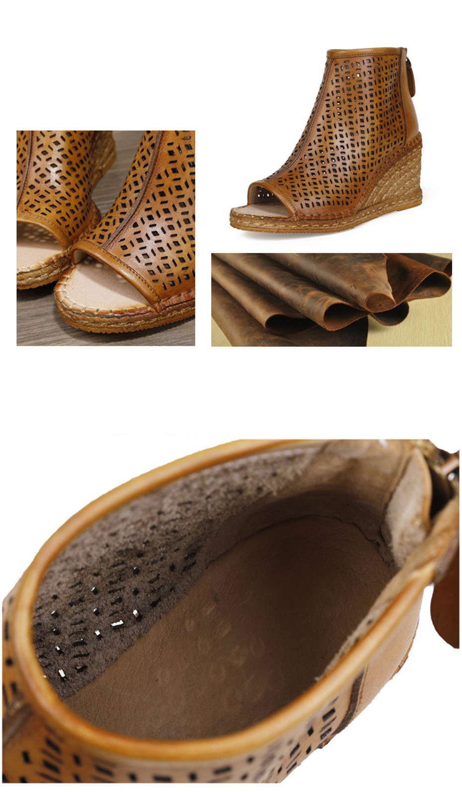 Spring Summer 2020 New Women Wedges Sandals Genuine Leather Peep Toe Hollow Woven High Wedge Heels Shoes Woman High-Top Sandals (10)