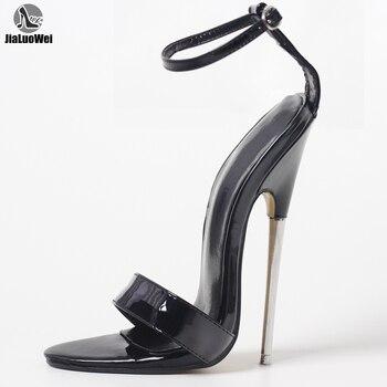 18cm stiletto heel black fetish Metal HIGH HEEL Sandals trendy iridescent color and stiletto heel design sandals for women