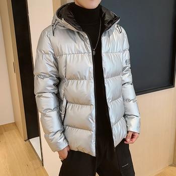 NEW ARRIVAL Autumn Winter Men Coats Brand Fashion Man Warm Cotton Parkas Size M-4XL Black Yellow Blue Silver