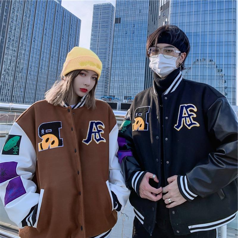 Hip Hop Baseball Jackets Letters Smiley Embroidery Patchwork Bomber Fashion College Unisex Loose Streetwear Harajuku Jacket Coat