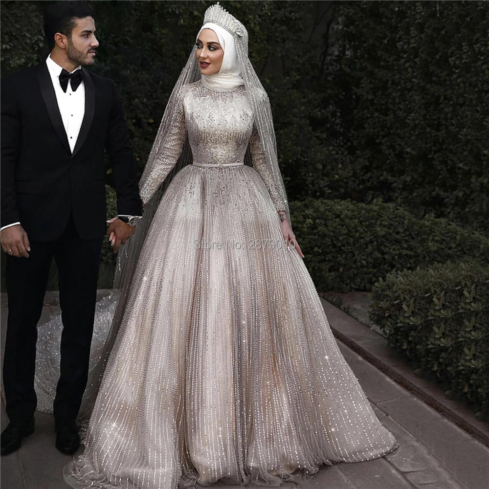 Muslim Hijab Scarf 2020 Ivory Wedding Dresses Long Sleeve Vintage Wedding Dress Sparkle Luxury Sequins Mariage Bridal Gown Dubai Wedding Dresses Aliexpress