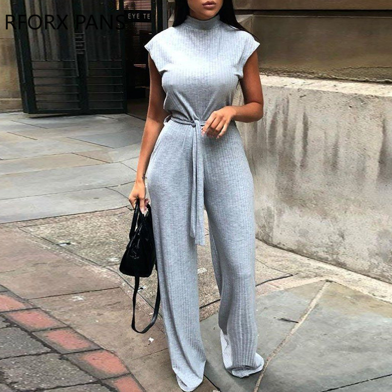 Women Solid Sleeveless High Neck Ribbed Ong Jumpsuit Sexy Casual Jumpsuit Fashion Bodysuit