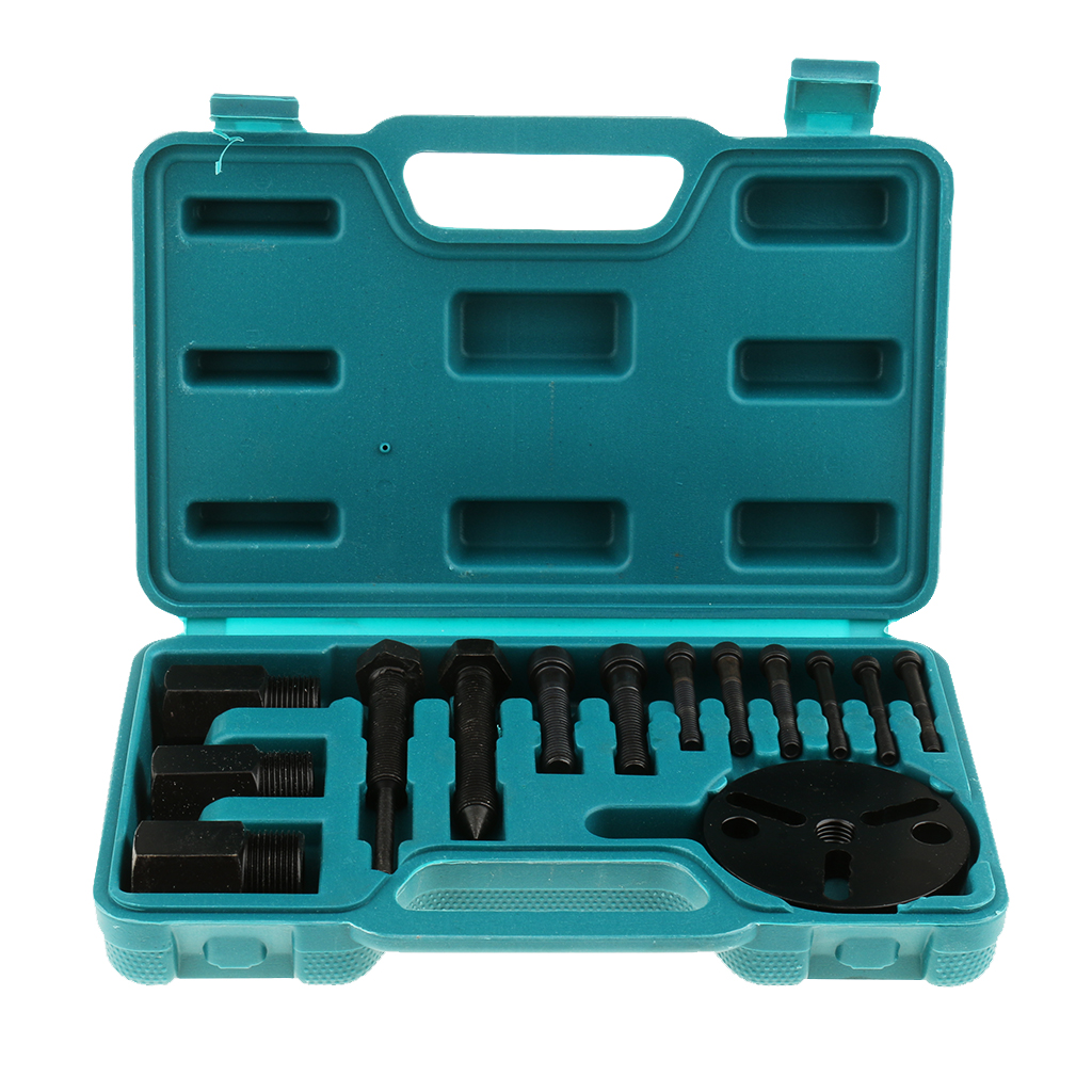 14 Pieces Car Air Conditioning Compressor Clutch A/C Puller Remover Tool Kit A/C Compressor Clutch Remover Installer Puller TooA/C Compressor & Clutch   -