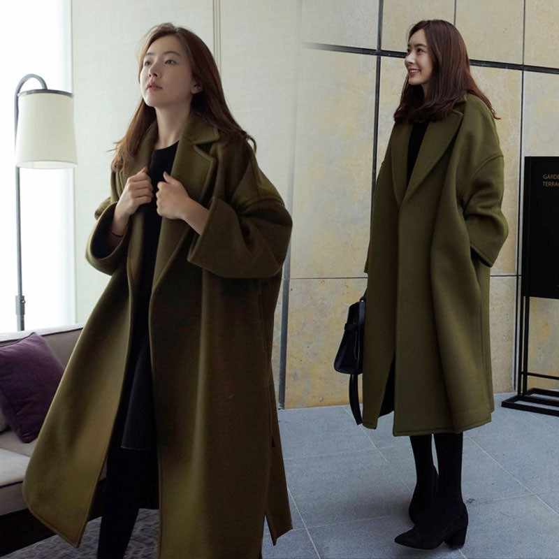 Musim Gugur Musim Dingin Warna Solid Plus Ukuran Panjang Mantel Kantong Mantel Hijau Lapel Lengan Panjang Tebal Besar Korea Campuran Wol